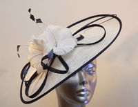 White Mother of the Bride Hatinator trimmed with Navy Blue 13103/SD575